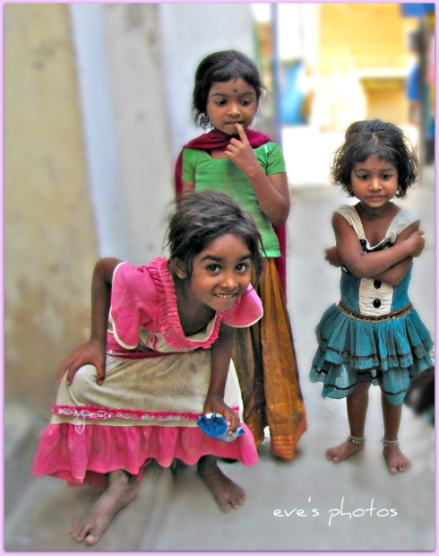Children playing in the alley. Puttaparthi