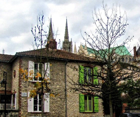 The Cathedral spires from the old town of Chartres.