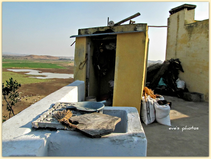 outdoor kitchen. Looking over the desert of Andra Pradesh, arid, dry and harsh