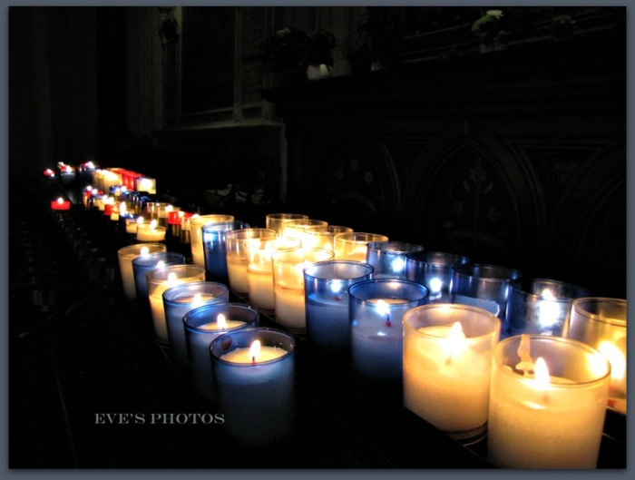 Candles from the Cathedral at Quimper, France.
